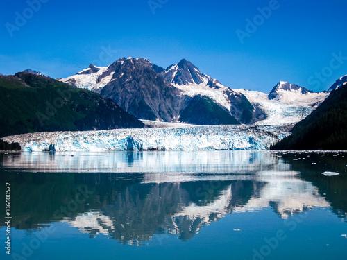 Poster Glaciers Columbia Glacier is mirrored to the Sea, Prince William Sound, Alaska, USA, America. View cruise .