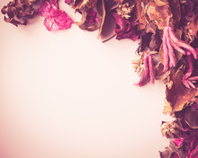 Vintage Backdrop Image With Dried Flower Potpourri And Room For Copy.