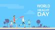 People Jogging Sport Family Fitness Run Training World Health Day
