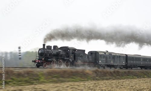 Old steam train Billede på lærred