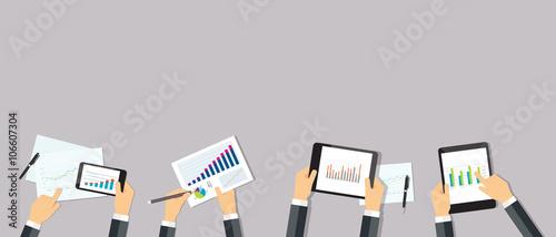 Valokuvatapetti business analytic graph report . business investment planning