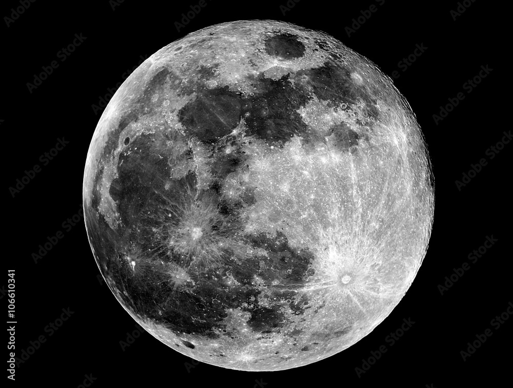 Fototapety, obrazy: Full Moon phase. Taken by telescope. Fase Luna piena. Scattata con telescopio.
