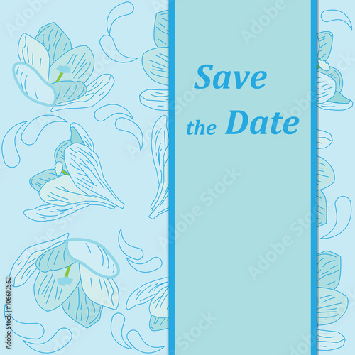 Fototapety, obrazy: Vector business and personal cards with a spring theme, blue
