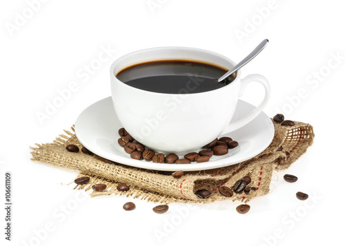 Foto op Canvas Cafe cup of coffee isolated