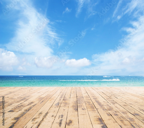 Wooden pier, exotic sea and the  blue sky Wallpaper Mural
