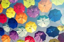 Colorful Umbrellas Background. Colourful Umbrellas Urban Street Decoration.
