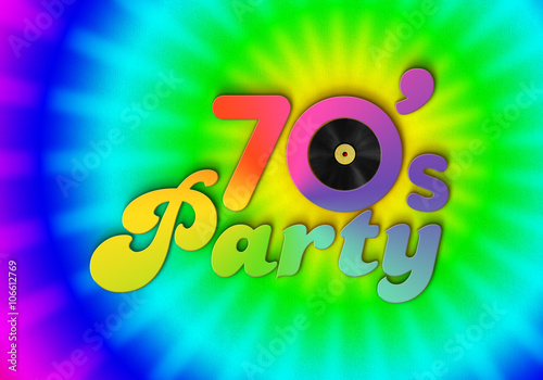 Poster  70s Party - LP -Typografie - Poster