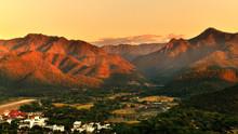 Sunset Over Mountain Range In ...