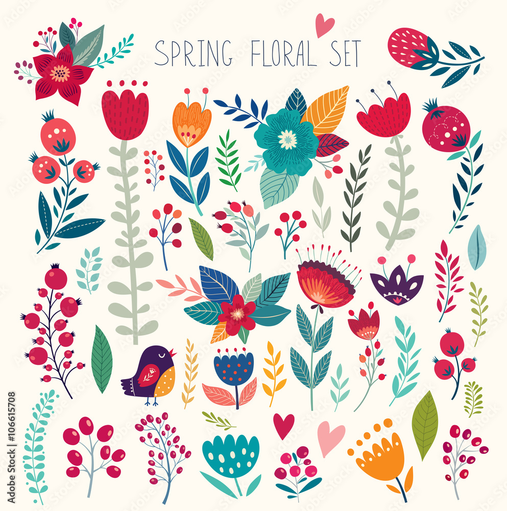 Fototapety, obrazy: Beautiful vector collection with flowers and leaves. Spring art print with botanical elements