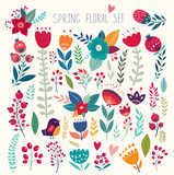 Fototapeta Kwiaty - Beautiful vector collection with flowers and leaves. Spring art print with botanical elements