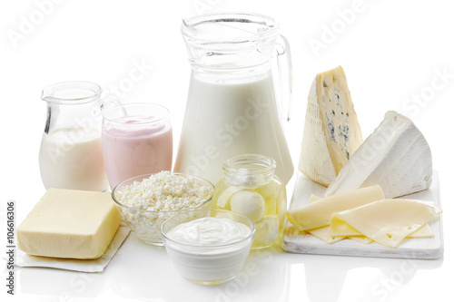 Poster Dairy products Various fresh dairy products