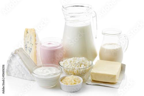 Plakat Różne świeże produkty mleczne