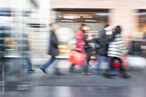 Fotografie, Obraz  People rushing through corridor, motion blur