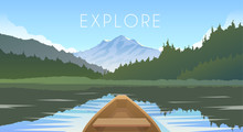 Sailing Boat. Mountain Landscape.