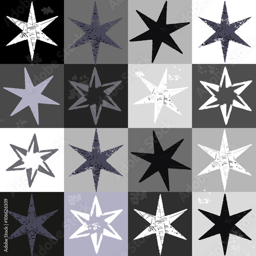 Stars Pop Illustration Imitation Stamp Retro Grunge Seamless Pattern In Vector Fashionable