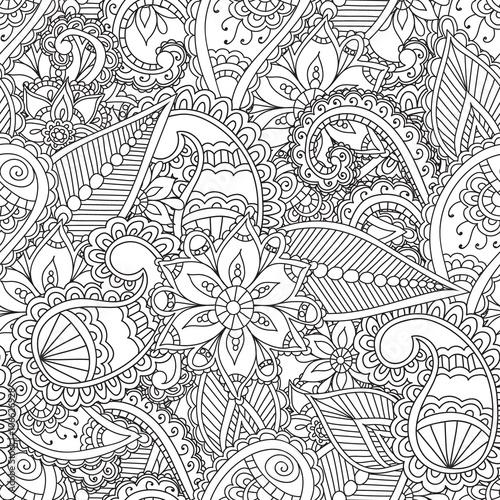 Naklejki witrażowe kolorowanki-dla-doroslych-seamles-henna-mehndi-doodles-streszczenie-kwiatowe-elementy