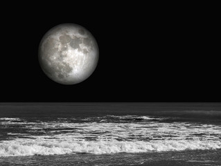 Obraz na SzklePlaya, luna llena, nocturna, mar, blanco y negro, paisaje, luna tridimensional