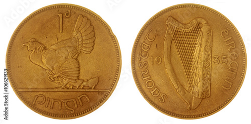 Fotografia  1 penny 1935 coin isolated on white background, Ireland