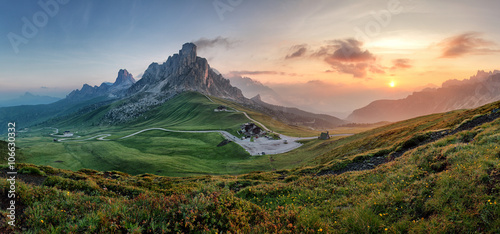 Tablou Canvas Mountain nature panorama in Dolomites Alps, Italy.