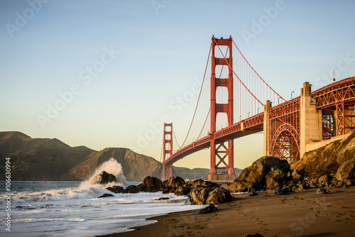 View of Golden Gate Bridge from beach, San Francisco, California, United States Poster