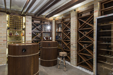 Fototapeta Modern wooden winery or wine cellar