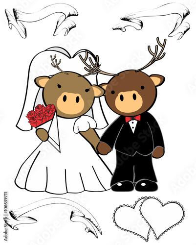 In de dag Indiërs deer married cartoon set in vector format