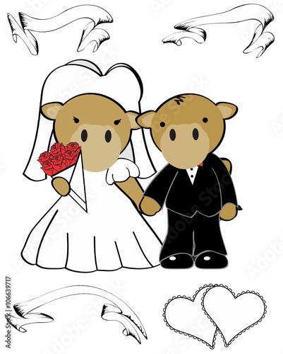 In de dag Indiërs camel married cartoon set in vector format