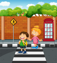 Two Kids Crossing The  Street