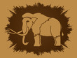Mammoth designed on grunge frame background graphic vector.
