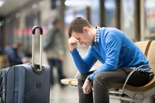 Fotografie, Obraz  Young frustrated man at airport