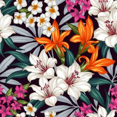 Panel Szklany Natura Seamless exotic pattern with tropical leaves and flowers. Blooming jungle. Vector illustration.