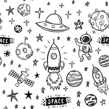 Vector Doodle Space Seamless P...