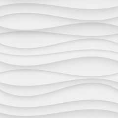 Seamless Wave Pattern. Curved Shapes Background. Regular White Texture