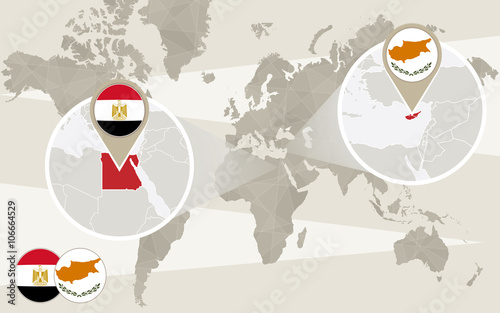 World Map Zoom On Egypt Cyprus Hijack Buy This Stock Vector And