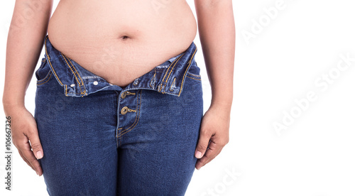 Fotografia, Obraz  Fat woman trying to wear jeans : Fat and Healthy concept