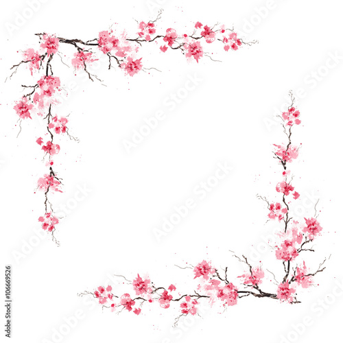 Spring sakura cherry frame. Original watercolor pattern. Wall mural