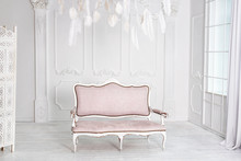 Classical White Interior With Pink Sofa.