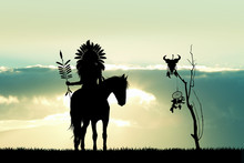 Indian On Horse At Sunset