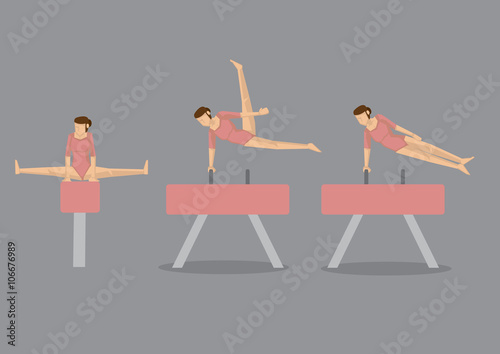Gymnast Woman on Pommel Horse and Vault Wallpaper Mural