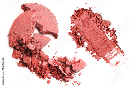 Valokuva  Crushed blusher isolated on white