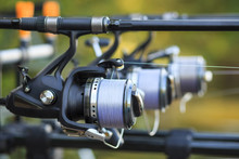 Three Fishing Rods With Reel S...