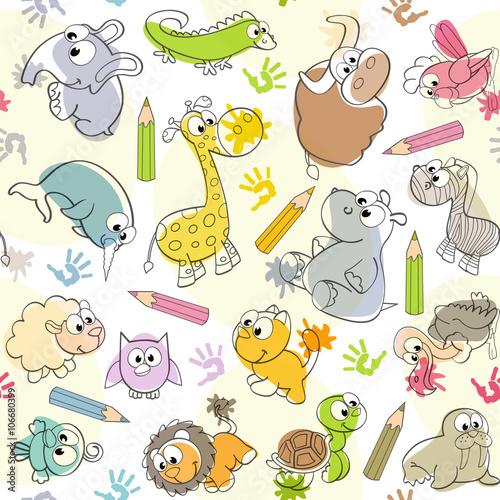 bezszwowy-wzor-z-dzieciakow-rysunkami-zwierzeta-wektorowa-ilustracja-eps