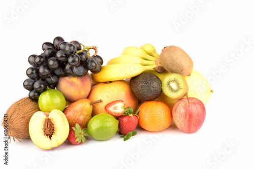 Keuken foto achterwand Vruchten Assortment of exotic fruits isolated on white