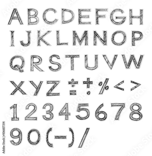 Font pencil sketch stroke - Buy this stock illustration and explore