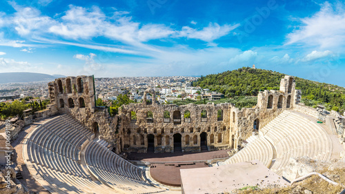 Photo Stands Athens Ancient theater in Greece, Athnes