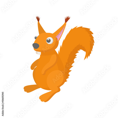Poster Oiseaux, Abeilles Red squirrel icon, cartoon style