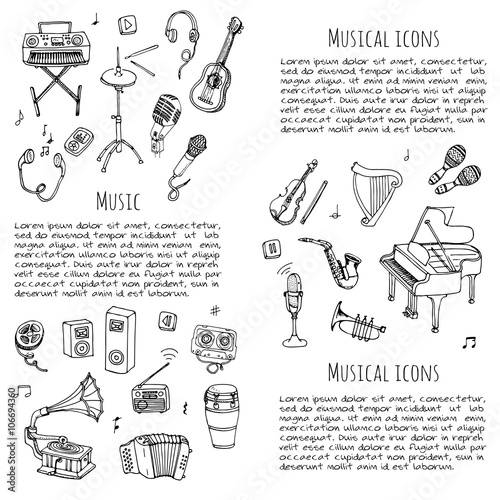 Fototapety, obrazy: Hand drawn doodle Music set Vector illustration musical instrument and symbols icons collections Cartoon sound concept elements Music notes Piano Guitar Violin Trumpet Drum Gramophone Saxophone Harp