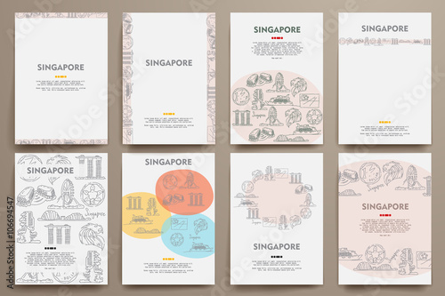 Photo  Corporate identity vector templates set with doodles Singapore theme