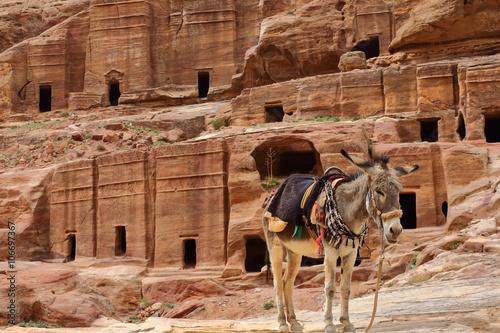 Deurstickers Midden Oosten Les tombeaux étagés à Pétra – Jordanie