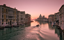 Water Taxi At Sunrise On Grand Canal In Venice